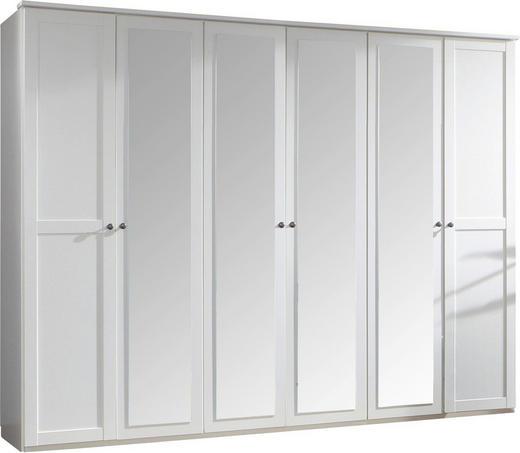 DREHTÜRENSCHRANK 6-türig Weiß - Weiß/Braun, LIFESTYLE, Holzwerkstoff (270/210/58cm) - Carryhome