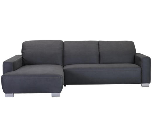 WOHNLANDSCHAFT in Textil Grau - Chromfarben/Beige, Design, Holz/Textil (198/296cm) - Hom`in