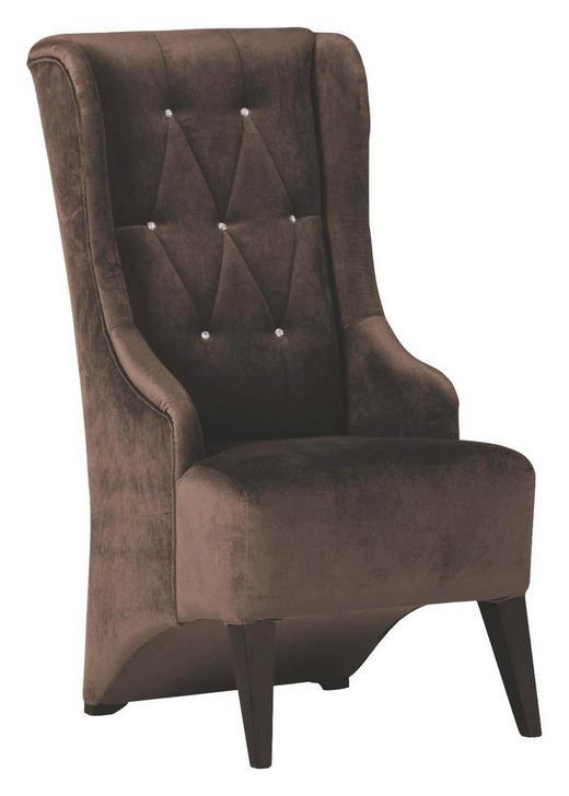 OHRENSESSEL Mikrofaser Braun - Schwarz/Braun, Design, Holz/Textil (60/115/73cm)