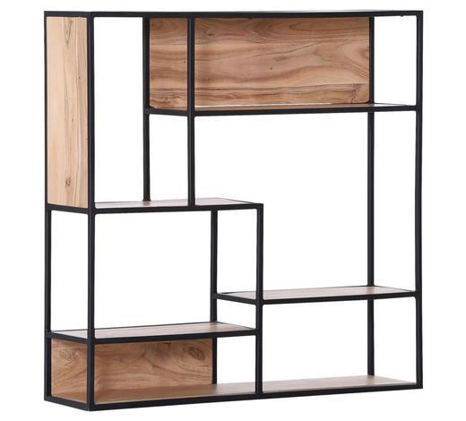 WANDREGAL - Schwarz/Naturfarben, Trend, Holz/Metall (100/100/25cm) - Carryhome