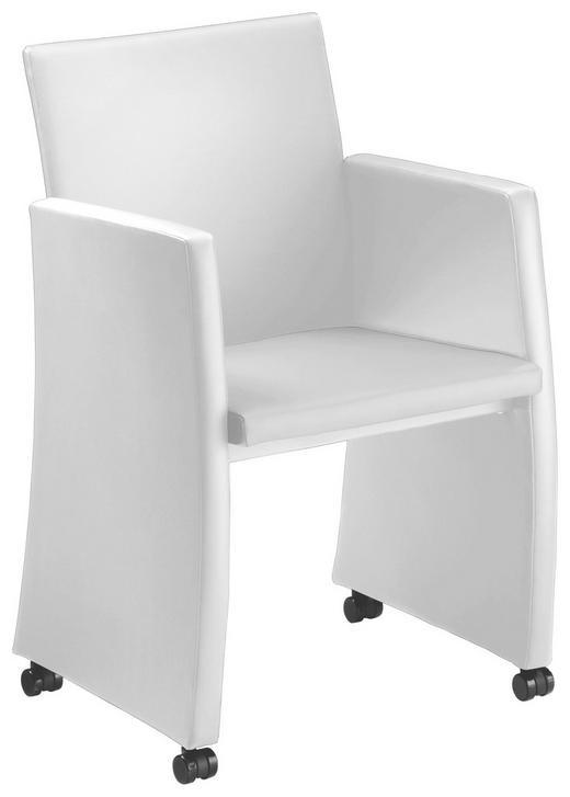 SESSEL Echtleder Weiß - Schwarz/Weiß, MODERN, Leder/Kunststoff (56/86/57cm)