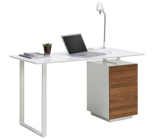 PSACÍ STŮL, bílá, barvy dubu - bílá/barvy dubu, Moderní, kov/kompozitní dřevo (140/76/60cm) - Hom`in