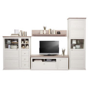 OBÝVACÍ STĚNA, kompozitní dřevo, šedá, barvy borovice - bílá/šedá, Lifestyle, kov/kompozitní dřevo (329,4/209,2/50cm) - Hom`in