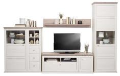 WOHNWAND Grau, Kieferfarben - Weiß/Grau, Design, Glas/Holzwerkstoff (329,4/209,2/50cm) - Hom`in