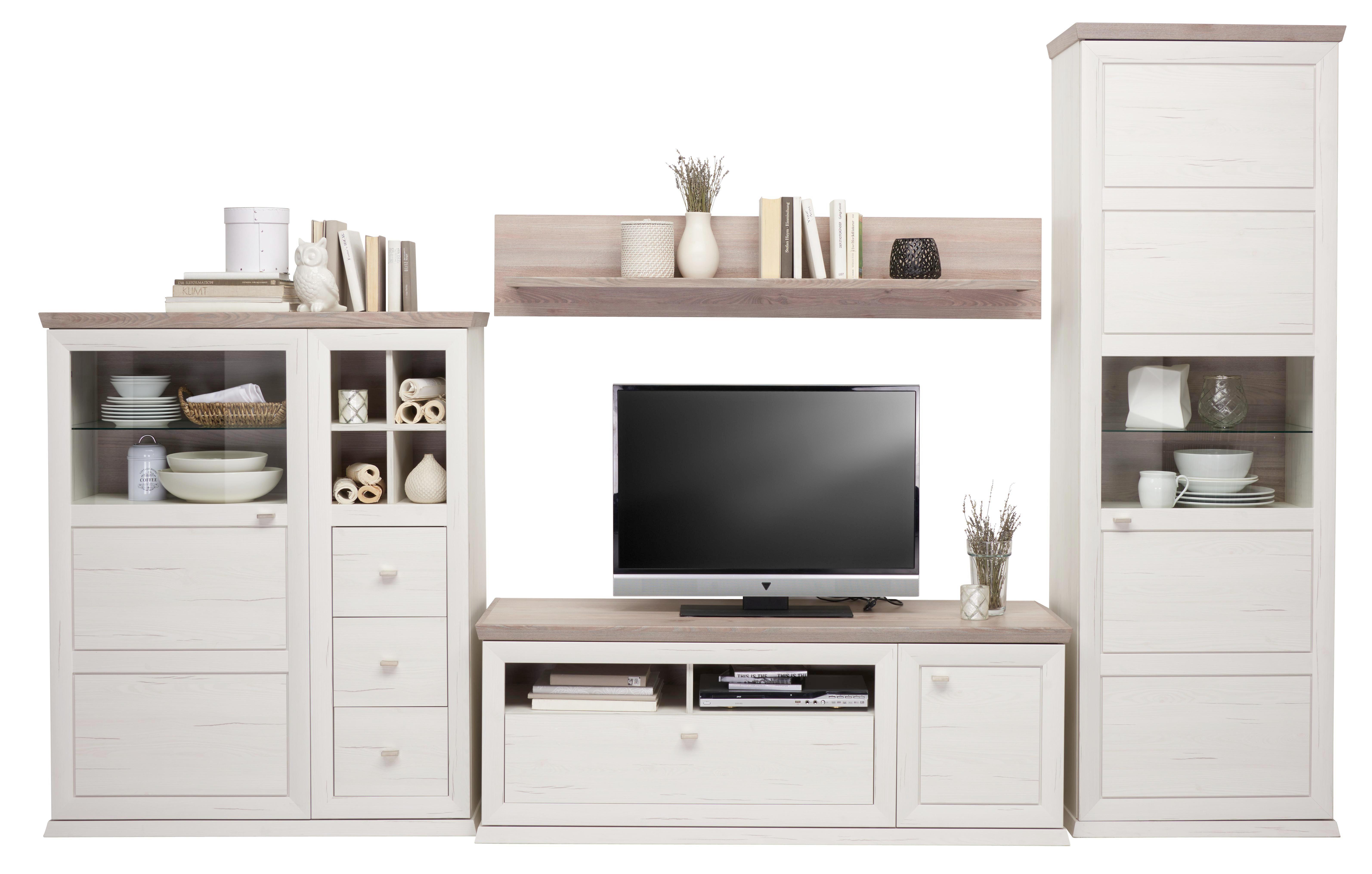 WOHNWAND Grau, Weiß   Weiß/Grau, Design, Glas/Holzwerkstoff (329