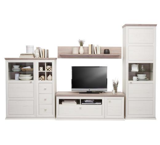 Wohnwand in Grau, Kieferfarben - Weiß/Grau, Lifestyle, Glas/Holzwerkstoff (329,4/209,2/50cm) - Hom`in