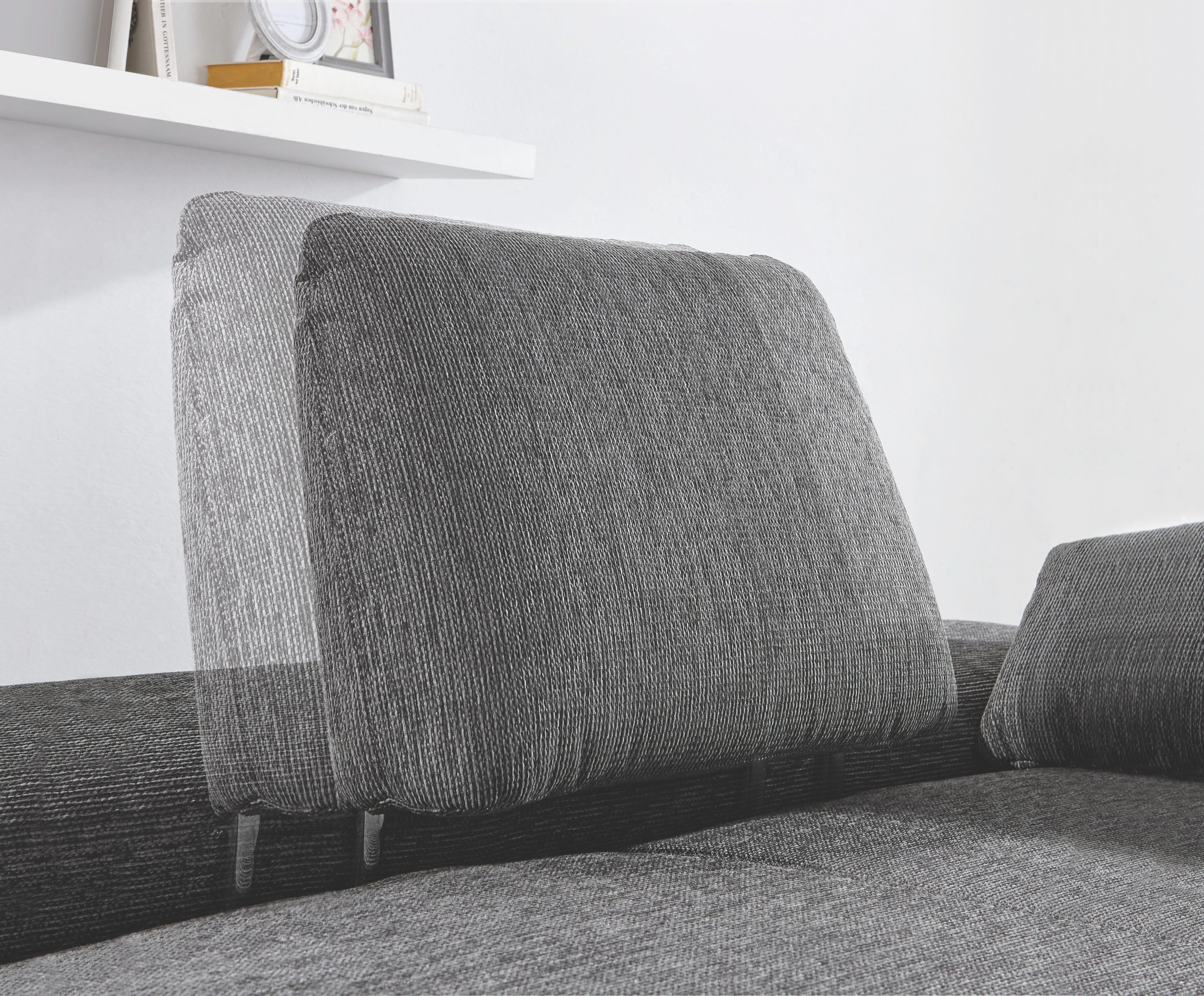 Ecksofa Flachgewebe, Lederlook Nierenkissen - Chromfarben/Weiß, Design, Textil/Metall (203/310cm) - VENDA