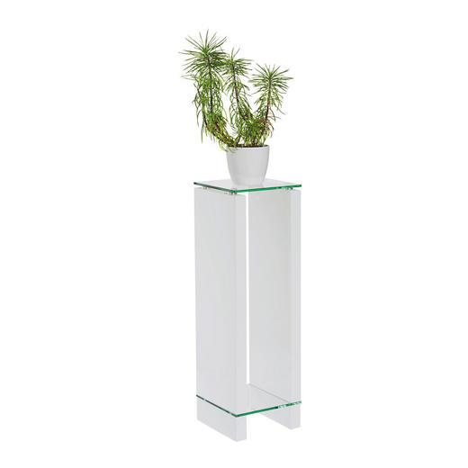 BLUMENTISCH Glas - Klar/Weiß, Design, Glas/Holzwerkstoff (25/80/25cm) - Carryhome