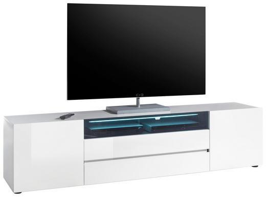 LOWBOARD Hochglanz, lackiert Schwarz, Weiß - Schwarz/Weiß, Design, Glas (203/43/49cm)