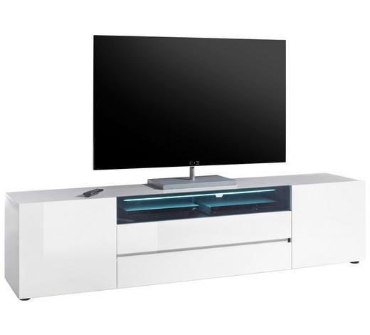LOWBOARD Hochglanz, lackiert Schwarz, Weiß  - Schwarz/Weiß, Design, Glas (203/49/43cm)