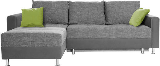 ECKSOFA Grau, Grün, Hellgrau Bettkasten, Rückenkissen, Schlaffunktion, Zierkissen - Chromfarben/Hellgrau, Design, Kunststoff/Textil (164/259cm) - Xora
