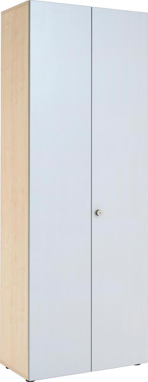 SCHRANK melaminharzbeschichtet Ahornfarben, Silberfarben - Silberfarben/Ahornfarben, KONVENTIONELL, Holzwerkstoff/Metall (80/215,6/42cm)