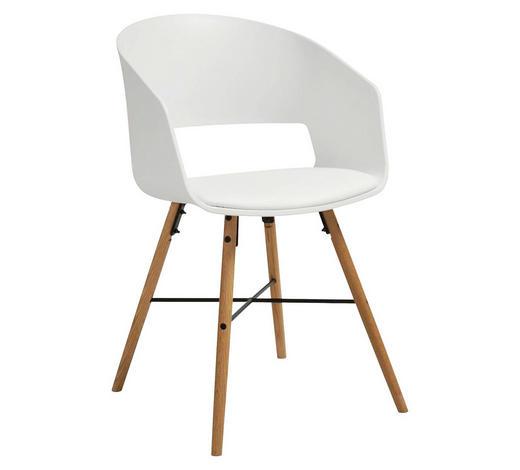STUHL Lederlook Weiß  - Buchefarben/Schwarz, LIFESTYLE, Holz/Kunststoff (51,5/80,5/52cm) - Carryhome