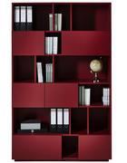 REGÁL - červená, Basics, kompozitní dřevo (120/194/36cm)