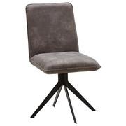 STOL, kovina, tekstil siva, črna  - siva/črna, Design, kovina/tekstil (46,5/87/64cm) - Voleo
