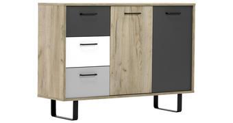 KOMODA - bijela/boje hrasta, Moderno, drvni materijal/metal (118/86,1/35cm) - Carryhome