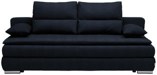 SCHLAFSOFA in Textil Dunkelblau  - Silberfarben/Dunkelblau, KONVENTIONELL, Kunststoff/Textil (207/94/90cm) - Venda