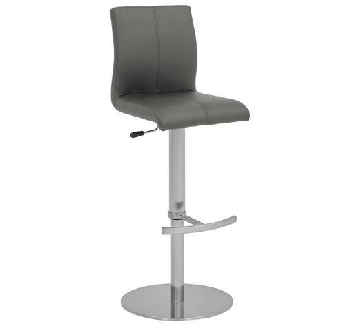 BARHOCKER in Grau, Edelstahlfarben - Edelstahlfarben/Grau, Design, Textil/Metall (42/87-112/42cm) - Dieter Knoll