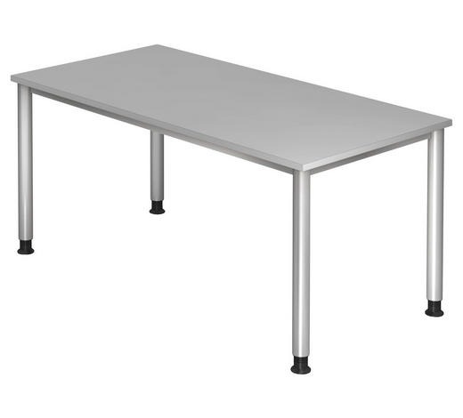SCHREIBTISCH - Silberfarben/Grau, KONVENTIONELL, Holzwerkstoff/Metall (160/68 (76)/80cm)