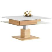 COUCHTISCH Wildeiche furniert quadratisch Weiß, Eichefarben  - Eichefarben/Weiß, Design, Glas/Holz (90/90/35,5-71,5cm) - Voglauer