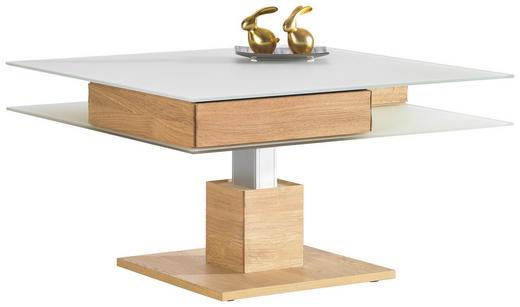 COUCHTISCH Wildeiche furniert quadratisch Eichefarben, Weiß - Eichefarben/Weiß, Design, Glas/Holz (90/90/35,5-71,5cm) - Voglauer