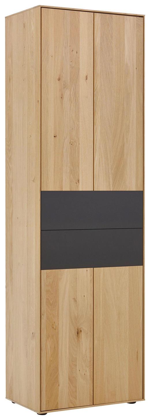 GARDEROBENSCHRANK - Eichefarben/Anthrazit, Natur, Holz/Metall (60/196/39cm) - Valnatura