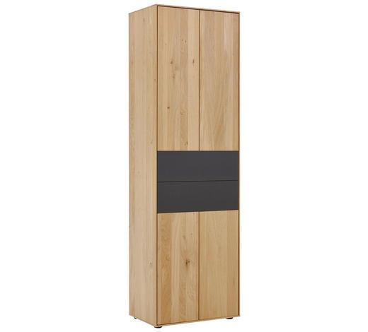 GARDEROBENSCHRANK 60/196/39 cm  - Eichefarben/Anthrazit, Natur, Holz/Metall (60/196/39cm) - Valnatura