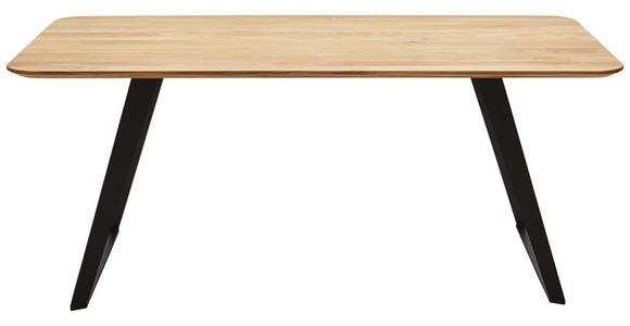ESSTISCH in Holz, Metall 220/100/76 cm   - Eichefarben/Schwarz, Design, Holz/Metall (220/100/76cm) - Voleo