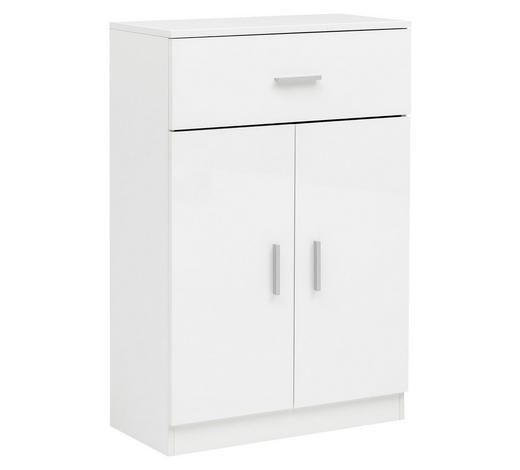 HIGHBOARD Hochglanz, lackiert, melaminharzbeschichtet Weiß  - Alufarben/Weiß, KONVENTIONELL, Holzwerkstoff/Metall (60/90/30cm) - Carryhome