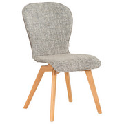 STUHL in Holz, Leder, Textil Braun, Eichefarben, Grau - Eichefarben/Braun, Design, Leder/Holz (48/91/61cm) - Bert Plantagie
