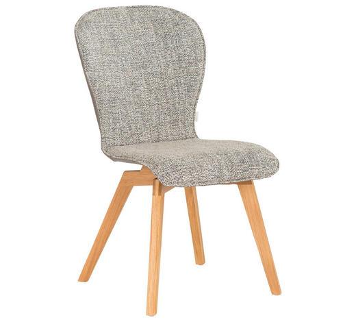 Stuhl in Holz, Textil, Leder Braun, Grau, Eichefarben - Eichefarben/Braun, Design, Leder/Holz (48/91/61cm) - Bert Plantagie