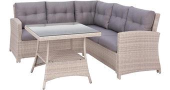 LOUNGE GARNITURA tkanina pletivo iz umetne mase, polietilen (PE) aluminij - naravna/siva, Design, kovina/umetna masa (196/192cm) - Ambia Garden