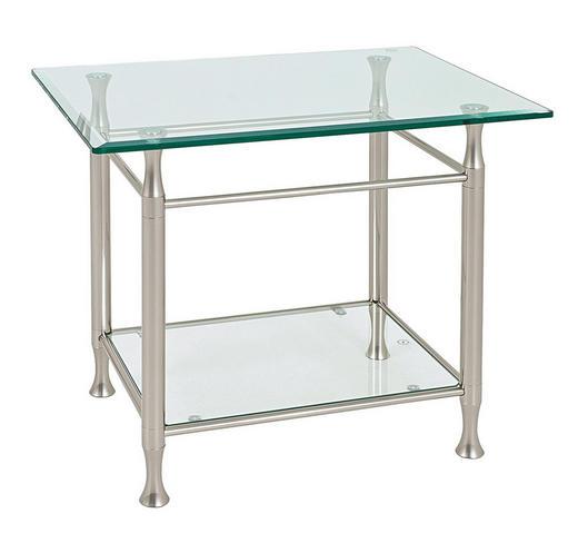 BEISTELLTISCH rechteckig Edelstahlfarben - Edelstahlfarben, Basics, Glas/Metall (58/52/43cm)