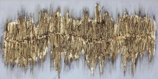 Abstraktes, Strukturen ÖLGEMÄLDE - Goldfarben, Basics, Holz/Textil (60/120cm) - Monee