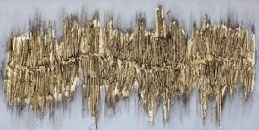 OLJEMÅLNING - guldfärgad, Design, trä/textil (60/120cm) - Monee