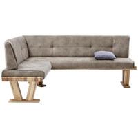 ECKBANK in Holz, Textil Eichefarben, Grau - Eichefarben/Grau, Natur, Holz/Textil (155/205cm) - Valdera