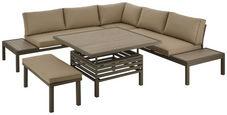 Dining-loungeset   - Taupe/Champagner, Design, Glas/Textil (248/248cm) - Amatio