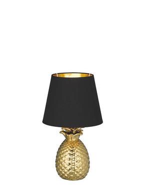 BORDSLAMPA - svart/guldfärgad, Lifestyle, metall/textil (20,0/35,0cm)