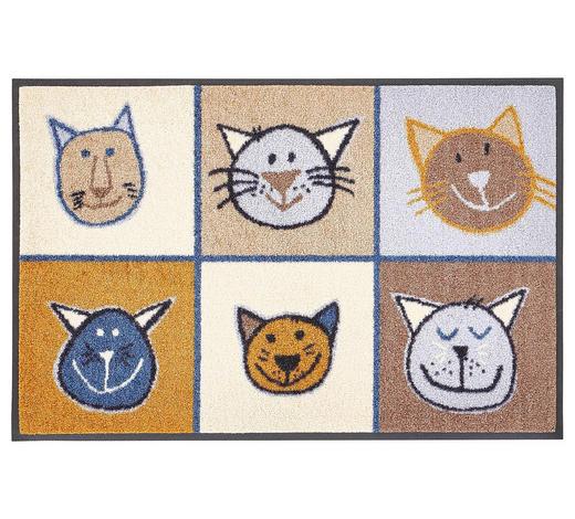 FUßMATTE 50/75 cm Katze Braun, Multicolor, Beige  - Beige/Multicolor, Basics, Kunststoff/Textil (50/75cm) - Esposa
