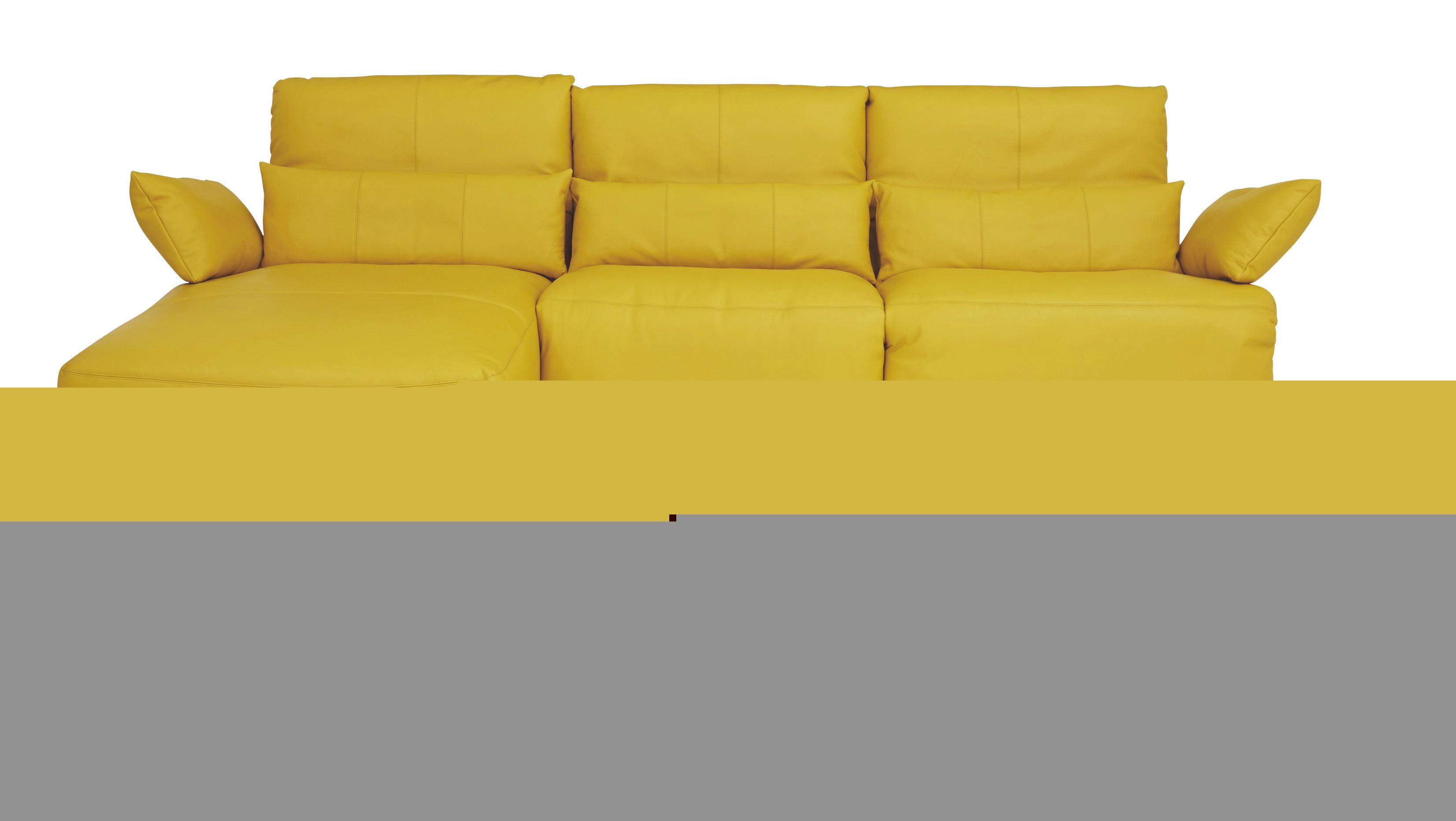 WOHNLANDSCHAFT Echtleder Nierenkissen - Gelb/Schwarz, Design, Leder/Kunststoff (170/300cm) - KOINOR