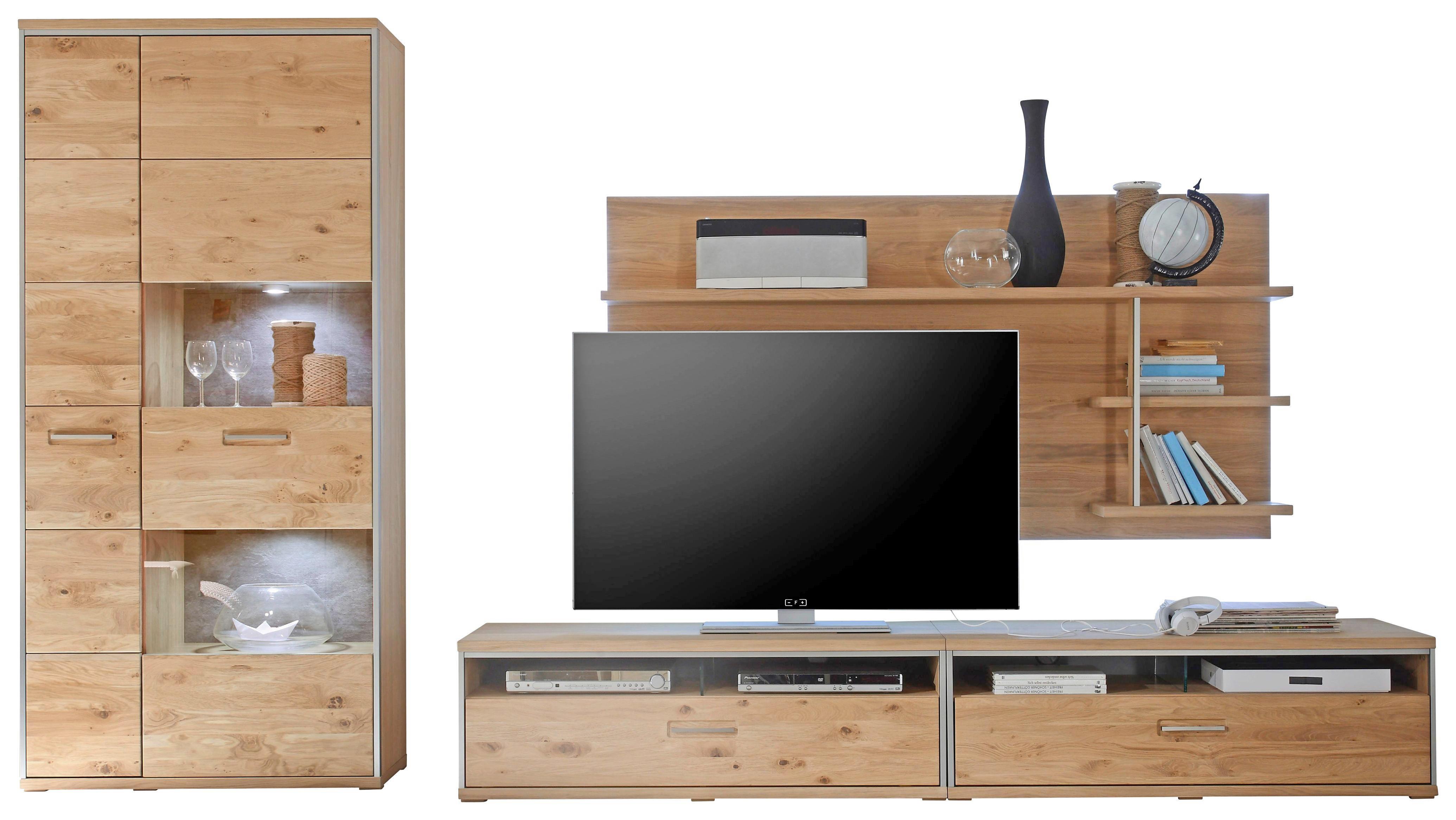 WOHNWAND Eiche Furniert, Vollmassiv Eichefarben   Hellbraun/Eichefarben,  Design, Glas/Holz