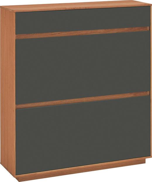 SCHUHKIPPER Eiche teilmassiv lackiert Dunkelbraun, Eichefarben - Eichefarben/Dunkelbraun, Design, Holz (101/111/31cm)