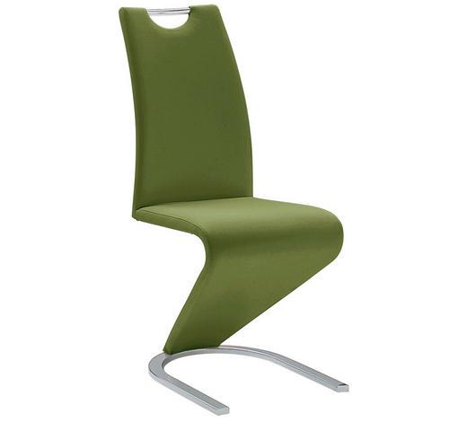 SCHWINGSTUHL in Metall, Textil Chromfarben, Dunkelgrün - Chromfarben/Dunkelgrün, Design, Textil/Metall (45/102/62cm)