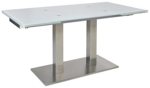 ESSTISCH rechteckig Edelstahlfarben, Weiß - Edelstahlfarben/Weiß, Design, Glas/Metall (120(180)/80/77cm) - DIETER KNOLL