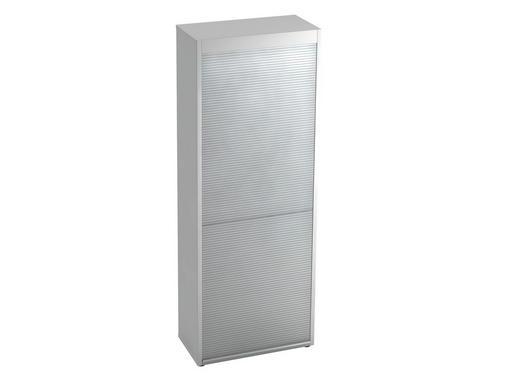 ROLLOSCHRANK - Silberfarben/Schwarz, KONVENTIONELL, Holzwerkstoff/Kunststoff (80/215,6/42cm)