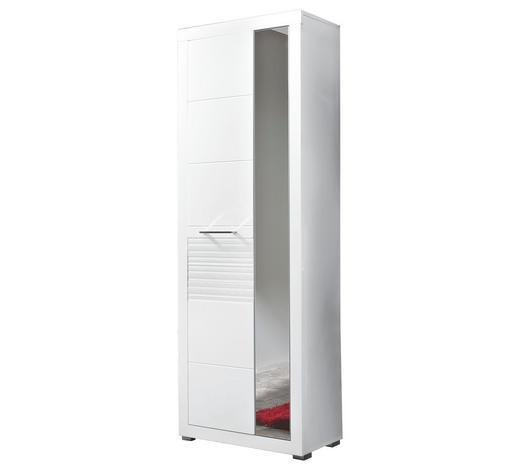 GARDEROBENSCHRANK Hochglanz, geriffelt Weiß - Chromfarben/Weiß, Design, Holzwerkstoff/Metall (72/201/37cm) - Carryhome