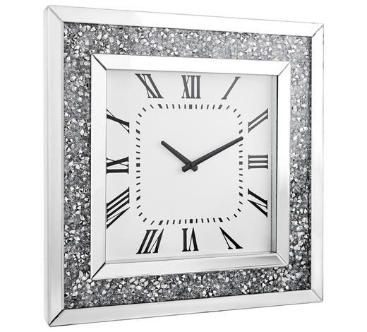 HODINY NÁSTĚNNÉ, barvy stříbra, bílá,  - bílá/barvy stříbra, Design, kompozitní dřevo/sklo (50/50/5cm) - Xora