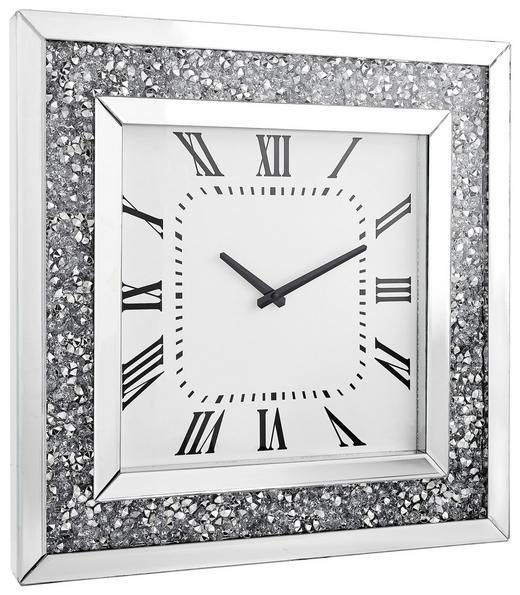 WANDUHR  Silberfarben, Weiß - Silberfarben/Weiß, Design, Glas (50/50/5cm) - Xora
