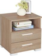 NOČNÍ STOLEK - barva lanýžového dubu/barvy hliníku, Design, dřevěný materiál/umělá hmota (45/47,5/35cm) - CARRYHOME