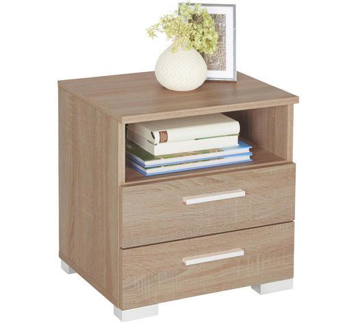 NOČNÍ STOLEK, barvy lanýžového dubu - barvy hliníku/barvy lanýžového dubu, Design, kompozitní dřevo/umělá hmota (45/47,5/35cm) - Carryhome